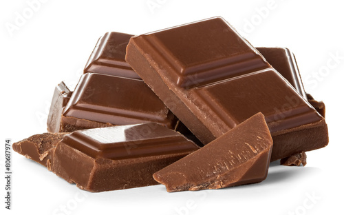 chocolate bars isolated on white background - 80687974