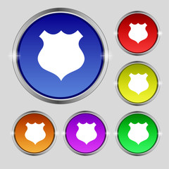 shield icon sign. Round symbol on bright colourful buttons. Vect