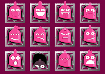 Funny condom characters