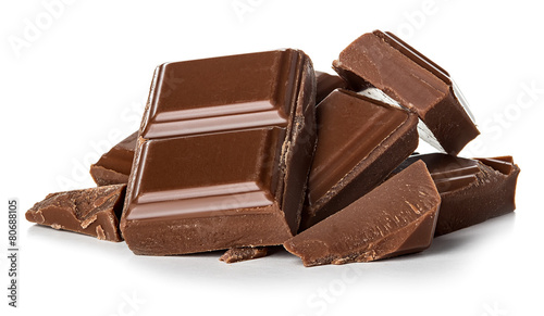 Staande foto Snoepjes chocolate bars isolated on white background