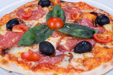Pizza with bacon, cheese, tomato and olive. fast dish.