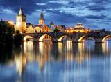Prague bridge at night - 80689517