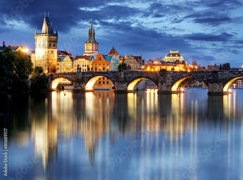 Foto op Canvas Praag Prague bridge at night