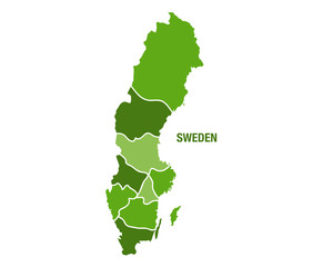 Sweden map with regions