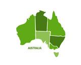 Australia map in green color