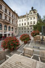 cafe with flowers in Ljubljana in Slovenia