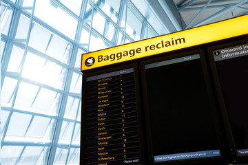 Bag, baggage claim sign at the airport