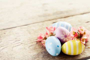 Easter decoration: colorful eggs in basket