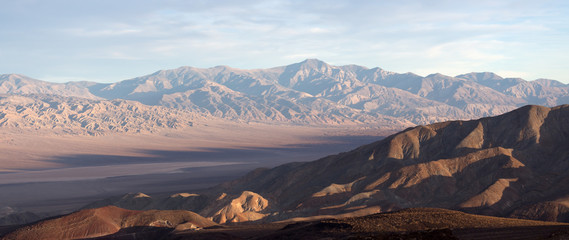 Death Valley in sunset light with dried lake