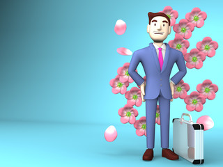Cherry Blossoms And Young Businessman On Blue Text Space