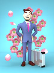Cherry Blossoms And Young Businessman