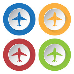 set of four colored icons with airplane