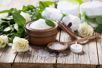 Spa scene with white roses