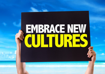 Embrace New Cultures card with beach background