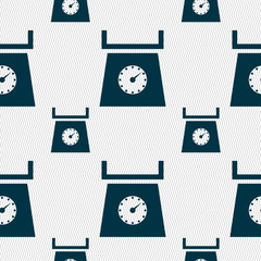 kitchen scales icon sign. Seamless pattern with geometric textur