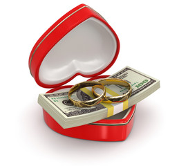 rings and Dollars in the heart box