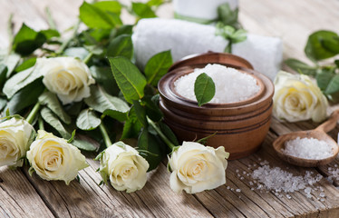 .Sea salt with roses. Spa concept.