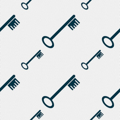 Key icon sign. Seamless pattern with geometric texture. Vector