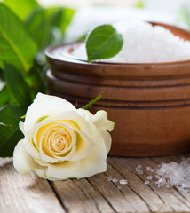 box of luxury sea salt with rose - beauty treatment