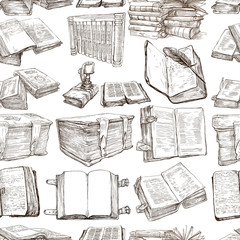 Books. Pack of an hand drawn illustrations, Seamless
