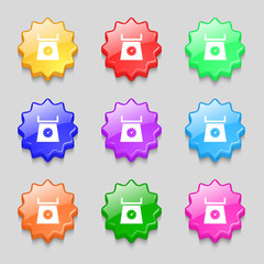 kitchen scales icon sign. symbol on nine wavy colourful buttons.