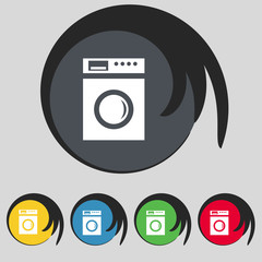 washing machine icon sign. Symbol on five colored buttons. Vecto