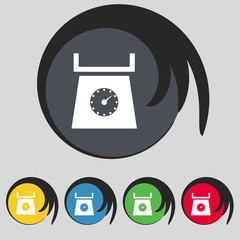 kitchen scales icon sign. Symbol on five colored buttons. Vector