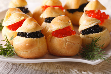 Delicious profiteroles stuffed with red and black caviar