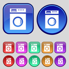 washing machine icon sign. A set of twelve vintage buttons for y