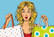 Pop Art blond women with shopping bags in the hands - 80694773