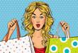 Leinwanddruck Bild - Pop Art blond women with shopping bags in the hands