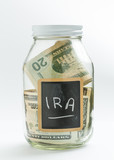 Glass Jar with chalk panel used for IRA retirement poster