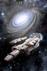 Space Battleship Spaceship and Galaxy