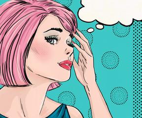 Pop Art illustration of suprised woman
