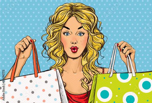 Leinwanddruck Bild Pop Art blond women with shopping bags in the hands