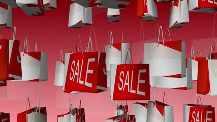 Sale and 75 percent inscription on shopping bag