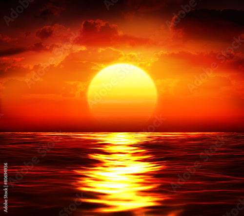 Canvas Zee / Oceaan big sunset over sea - summer theme
