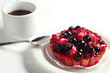 Cake with berries and coffee