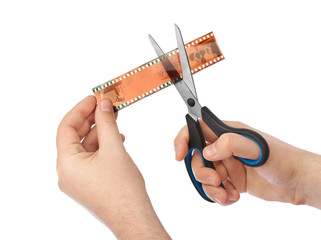 Photographic film and scissors