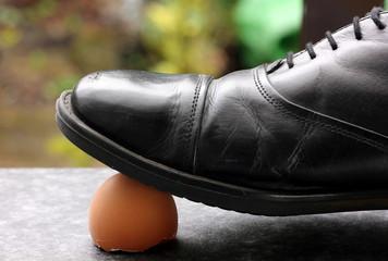standing on eggshell
