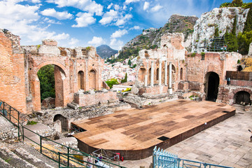 Antique amphitheater Teatro Greco in Taormina, Sicily