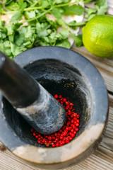 pepper in a stone mortar
