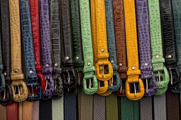 leather belts in italian shop in florence