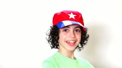 Happy Joyful Child Wearing Cuban Flag Cap