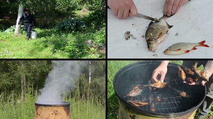Fresh fish cleaning and preparing. Video clips collage.