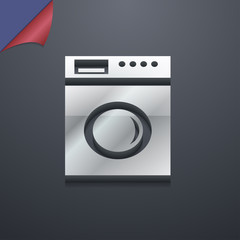 washing machine icon symbol. 3D style. Trendy, modern design wit