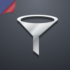 Funnel icon symbol. 3D style. Trendy, modern design with space f