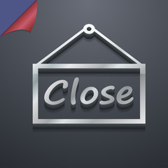 close icon symbol. 3D style. Trendy, modern design with space fo