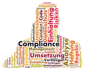 Compliance word cloud shaped as a human body
