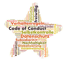 Code of conduct word cloud shaped as a star